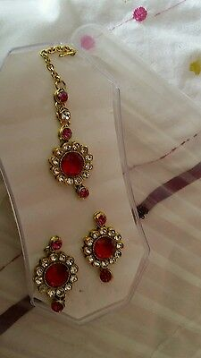 New Bollywood Indian Costume Jewellery Earring Tikka Set Stone Gold White Pearl