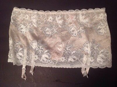 Victorias Secret Seduction Lace Garter Skirt Crystals $48 S Taupe/Silver/White