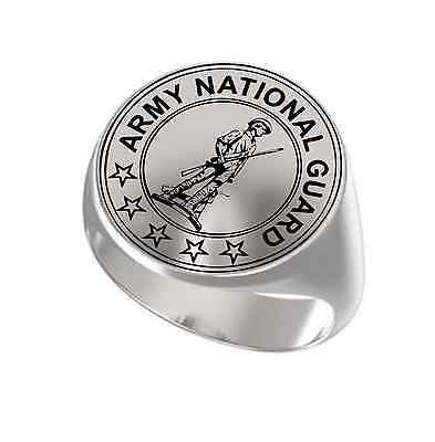 United States Army National Guard Engraved Round Signet 925 Sterling Silver Ring
