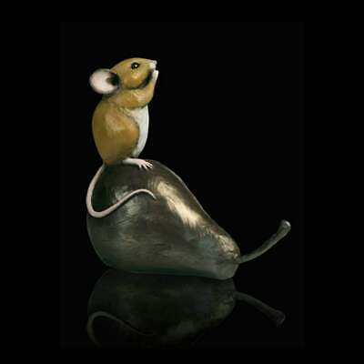 Hand Painted Cold Cast Bronze Resin Mouse Figure / Sculpture by Michael Simpson