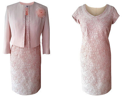 Dusky Pink Mother Of The Bride Groom Outfit 2 Piece Formal Jacket Dress Size 12