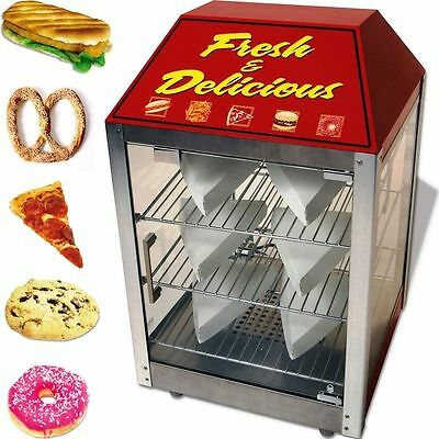 Stainless & Glass Pizza Display Cabinet Food Warmer Countertop