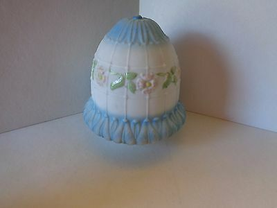 Vintage Ceiling Light Fixture Globe / Shade Blue/ White with Pink Flowers