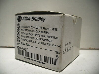 Allen-Bradley 100-Fa22 Auxiliary Contact Front Mount 2No/2Nc Ser.b New In Box!