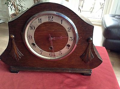 Wooden Art Deco Mantle Clock 1935 Spares or Repairs
