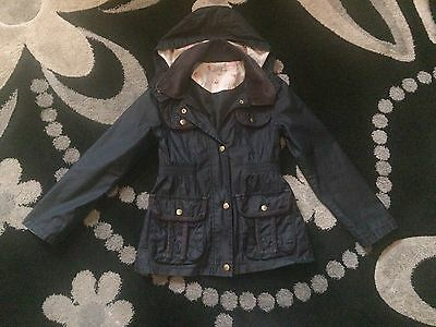 Girls Navy Blue M&S Coat Jacket 7-8 Years
