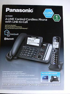 Panasonic KX-TG9581B Link2Cell DECT 6.0 1-Handset 2-Line Digital Cordless Phone