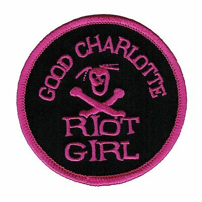 GOOD CHARLOTTE - Riot Girl PINK woven patch Iron / Sew On NEW