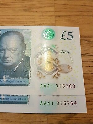 2 sequential numbers New £5 note AA41