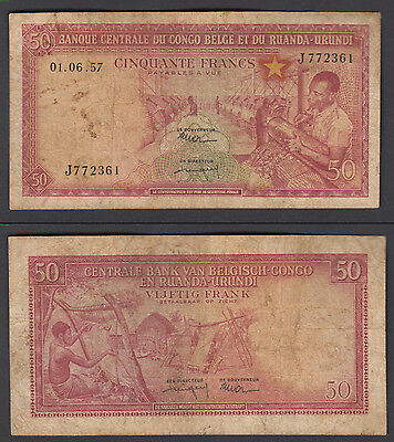Belgian Congo 50 Francs 1957 (F) Condition Banknote Currency P-32