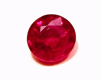 0.53 Carat Natural Mined Loose Gem Round Saturated Deep Red Ruby 5.0x2.5MM - WxD