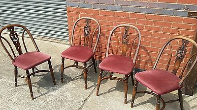 Antique Set of Four Beech Shield Stick Backed Chairs.