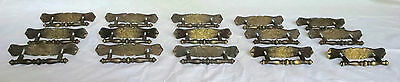 Lot of 15, Vtg Brass Drawer Pulls with Brass Back Plates, 2 Hole Mount