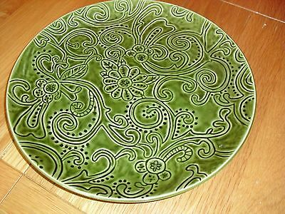 Lovely Vintage Tabletops Gallery Laguna green dinner plate/charger ,hand painted