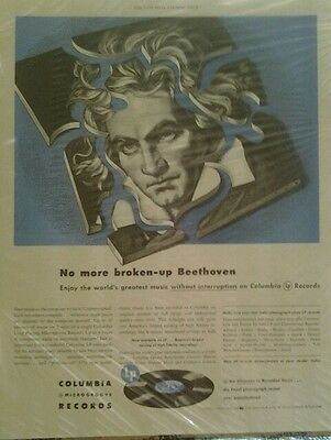 Vintage 1949 Columbia Records Ad features Beethoven