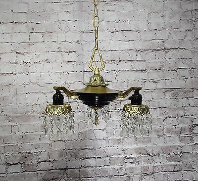 Antique Vintage Chandelier Pan Fixture French Empire Black Gold Crystals