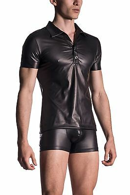 """Manstore M510 Polo Shirt Wet Look PVC effect Club Party Erotic (36""""-42"""" chest)"""