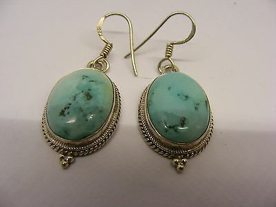 A Stylish Pair Of Vintage Turquoise Agate & Sterling Silver (925) Drop Earrings