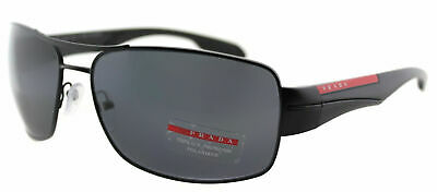 9fdfaf4388 New Prada Linea Rossa PS 53NS 1BO5Z1 Shiny Black Sunglasses Gray Polarized  Lens