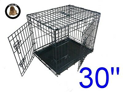 "Ellie-Bo 30"" Medium Dog Puppy Pet Cage Folding Carrier Crate In Black"