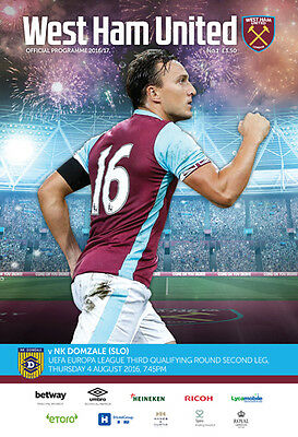 West Ham United V Nk Domzale- Official Programme- Europa League- 4Th August 2016