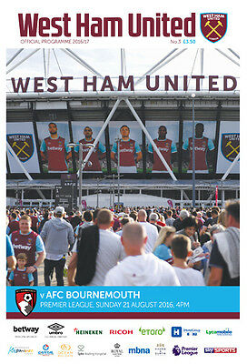 West Ham United V Bournemouth -Official Programme-21St August 2016