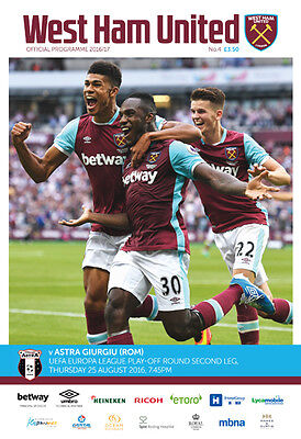 West Ham United V Fc Astra- Official Programme- Europa League- 25Th August 2016