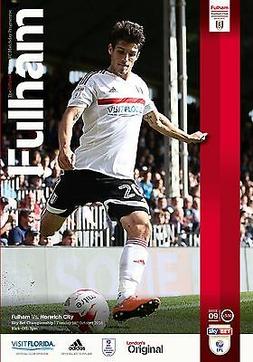 Fulham V Norwich City - Official Programme -Championship -18Th October 2016