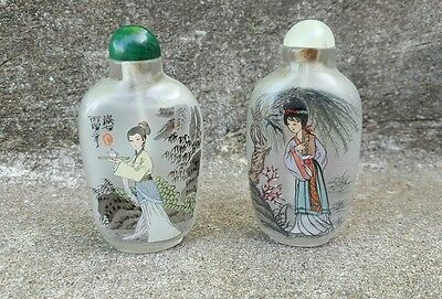 2 Vintage Chinese Interior Painted Glass Snuff Bottles, Both Ladies Women Signed