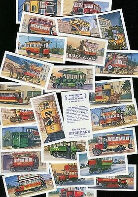 """Hitchmans Dairies 1966 Set Of 25 """"buses And Trams"""" Tea Cards"""