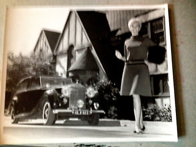 Original and Vintage Newspaper Photograph of Pretty Woman and Rolls Royce