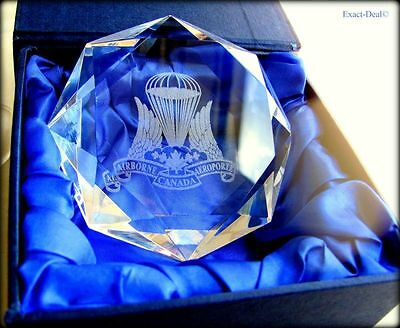 Canadian Airborne Regiment Logo Engraver on Giant Diamond Crystal Paperweight