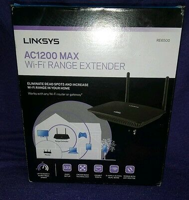 Linksys AC1200 MAX Wi-Fi Range Extender. RE6500. New and Boxed.