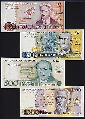Brazil lot of 4 different banknotes 50 100 500 1000 Cruzados all Unc