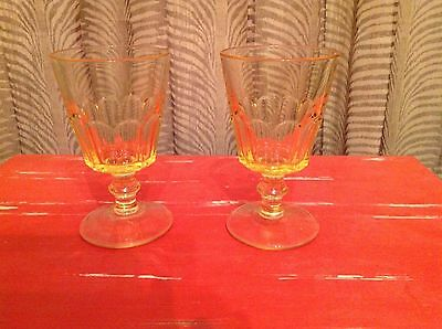 Vintage Yellow Footed Goblets. Set of 2