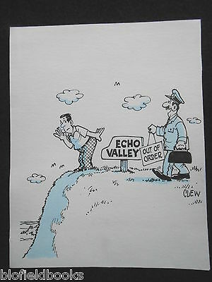 "CLIFFORD C LEWIS ""CLEW"" Original Pen & Ink Cartoon - Echo Valley, Humour #59"
