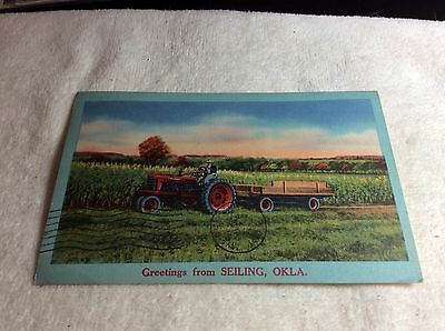 Vintage Postcard Greetings From Seiling, Okla Tractor In Corn Field 1957
