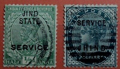 India 1885 Jind State 1887 Jhind State Service Overprinted Satmpa Lot
