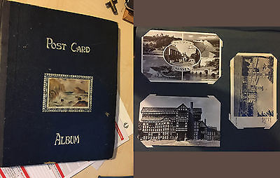 94 mostly WW1, 1920/1930/1950's postcards in Album + signed Hazel Court photo