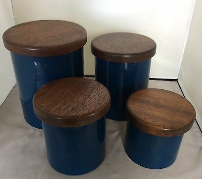 Vintage Blue Copco Nesting Canister Tins MOD Retro 1970's