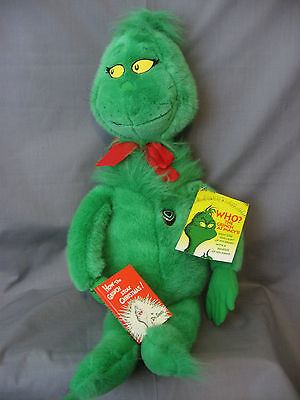 Macy's 1997 **grinch** Plush Doll - With Book - Great Condition