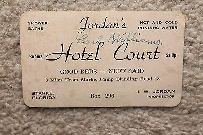 Vintage Advertising Card Jordan's Hotel Court Starke, FL