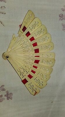 Antique 19thc Hand carved ?? Bone Minature fan