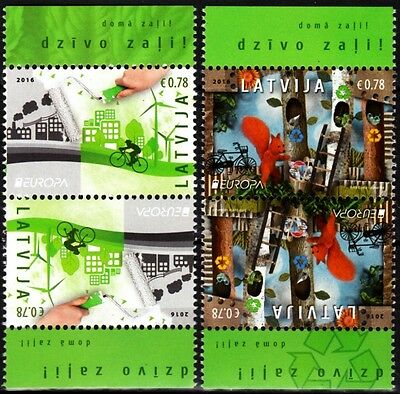 LATVIA 2016-08 EUROPA: Ecology. Ecology. Bicycle, Forest. Tete-Beche Pairs MNH
