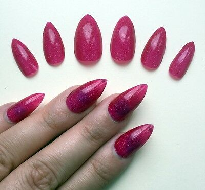 Hand Painted False Nails STILETTO. Red Subtle Glitter. Christmas Xmas. UK