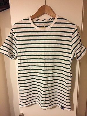 Men's White & Green Striped Joules T-shirt, Small