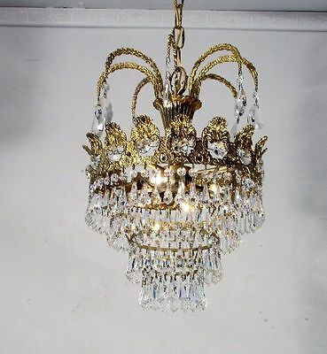 Vintage Antique Brass  Ring Chandelier Crystals Restored Rewired Pendent Fixture