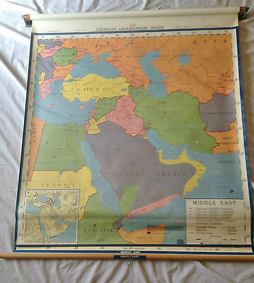 Middle East Pull down map  A J.Norstrom Color with mounting bracket wall size