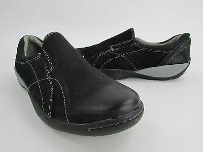 New Naturalizer Rebel Black Grey Accents Leather Slip On Loafer Women's size 6M