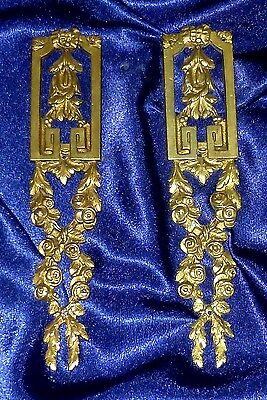 Pair Of Antique French Bronze/ Brass Furniture Pediments Decorations Mounts